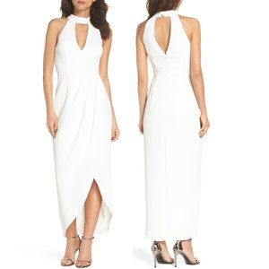 XSCAPE Ivory Sleeveless Cut Out Tulip Formal Gown